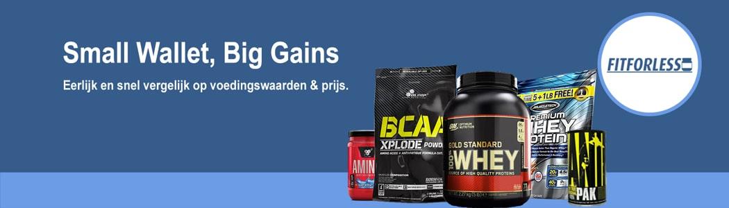 FitForLess.nl: Eerlijk en snel vergelijk van supplementen op prijs en voedingswaarden.